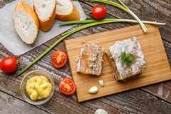 Homemade jelly meat with mustard, bread, tomatoes and garlic on the table. Holodets. Traditional Russian food Stock Image