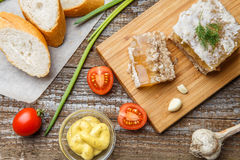 Homemade jelly meat with mustard, bread, tomatoes and garlic on the table. Holodets. Traditional Russian food Stock Photography