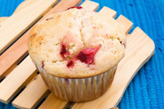 Homemade Jumbo Sized Strawberry Buttermilk Muffins Stock Photo