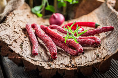 Homemade kabanos sausages in cellar Royalty Free Stock Image