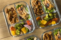 Homemade Keto Chicken Meal Prep. With Veggies in a Container stock photo