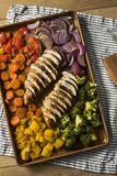 Homemade Keto Sheet Pan Chicken. With Rainbow Vegetables stock photo