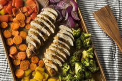 Homemade Keto Sheet Pan Chicken. With Rainbow Vegetables royalty free stock photography