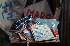 Homemade kites with space missions names and checklist and marker Stock Images