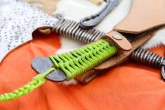 Homemade knife handle stock photography