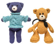 Homemade knitted bears. Royalty Free Stock Photography