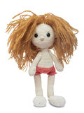Homemade knitted doll. Royalty Free Stock Photo