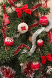 Homemade knitted and embroidered Christmas toys Stock Photography