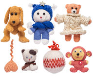 Homemade knitted toys. Royalty Free Stock Photo