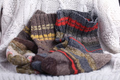 Homemade knitted woolen clothing Stock Photo