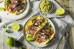 Homemade Korean Steak Tacos. With Cabbage Cilantro and Cheese stock photo