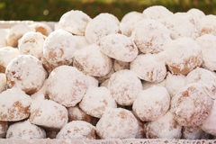 Homemade Kourabiedes covered with icing sugar Royalty Free Stock Image