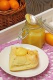 Homemade Kumquat  Curd. Jam of kumquats with croissant for breakfast Stock Photo