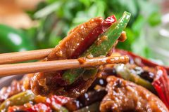 Homemade Kung Pao chicken with peppers and vegetables. Traditional sichuan dish Stock Photo
