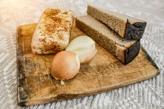 Homemade lard, bread and onions on the cutting Board. National food stock photography