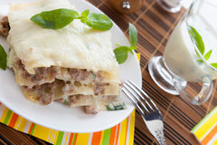Homemade lasagna with béchamel sauce Stock Images