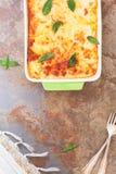 Homemade lasagna in a baking dish Royalty Free Stock Photo