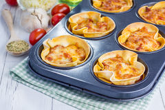 Homemade lasagna cups Stock Photo