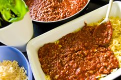 Homemade lasagna food photo making process Royalty Free Stock Image