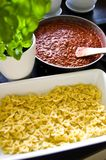 Homemade lasagna food photo making process Stock Image