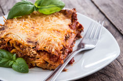 Homemade Lasagne on a plate Stock Images