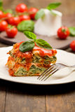 Homemade Lasegne With Ricotta Cheese And Spinach Royalty Free Stock Photography
