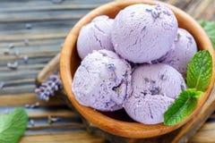Homemade lavender ice cream. Royalty Free Stock Image