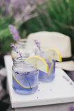 Homemade lavender lemonade with fresh lemons on a white wooden tray Royalty Free Stock Image