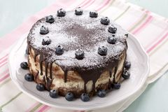 Homemade layered cake with chocolate icing decorated with blueberries stock images