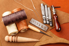 Homemade leather craft equipment Royalty Free Stock Photography