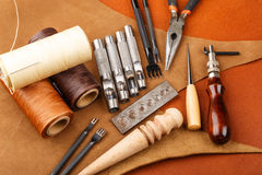 Homemade leather craft tool Royalty Free Stock Images