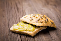 Homemade leek marmalade with breadroll Stock Images