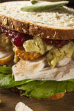 Homemade Leftover Thanksgiving Dinner Turkey Sandwich Royalty Free Stock Photography