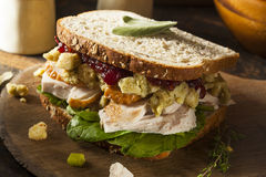 Homemade Leftover Thanksgiving Dinner Turkey Sandwich. With Cranberries and Stuffing stock photo