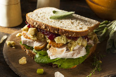Homemade Leftover Thanksgiving Dinner Turkey Sandwich Royalty Free Stock Photos