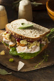 Homemade Leftover Thanksgiving Dinner Turkey Sandwich. With Cranberries and Stuffing stock images