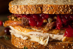 Homemade Leftover Thanksgiving Sandwich Royalty Free Stock Images