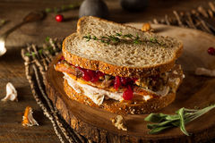 Homemade Leftover Thanksgiving Sandwich Royalty Free Stock Photo
