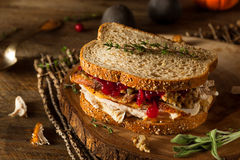 Homemade Leftover Thanksgiving Sandwich Stock Photos