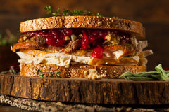 Homemade Leftover Thanksgiving Sandwich Royalty Free Stock Image
