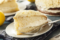 Homemade Lemon Cake with Cream Frosting Stock Photo