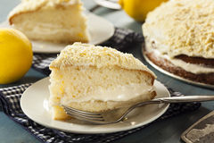 Homemade Lemon Cake with Cream Frosting Stock Image