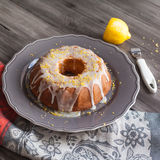Homemade lemon cake with icing Stock Image