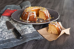 Homemade lemon cake with icing Stock Images