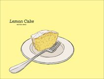 Homemade lemon cake with poppy seeds and sugar glaze. hand draw Royalty Free Stock Image