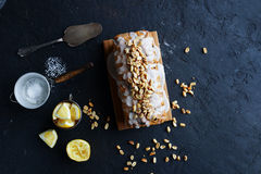 Homemade lemon cake with raisins, nuts and vanilla frosting Stock Photography