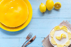 Homemade lemon cheesecake, Royalty Free Stock Images