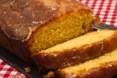 Homemade lemon drizzle cake royalty free stock photos
