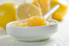 Homemade lemon jam in a china bowl Stock Images