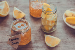 Homemade lemon jam in glass jar. Organic fresh yellow jam Royalty Free Stock Photos